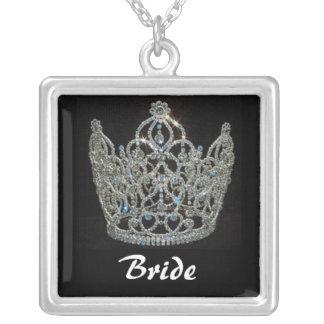 Royal Wedding/Bride's Tiara Crown Square Pendant Necklace