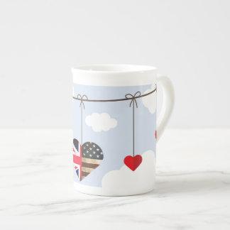 Royal Wedding British and American flag hearts Tea Cup