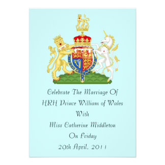 Royal Wedding Coat Of Arms Invitation Aqua