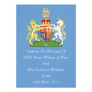 Royal Wedding Coat Of Arms Invitation Blue