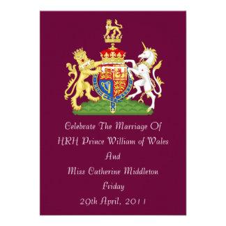 Royal Wedding Coat Of Arms Invitation Burgundy