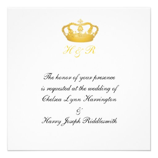 Royal Wedding Golden Crown Invitation