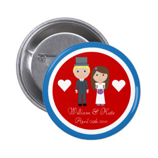 Royal Wedding William & Kate Cute Cartoon Button