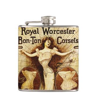 Royal Worcester corsets Hip Flask