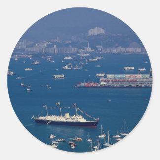 """Royal yacht """"Britannia"""" arriving in Victoria Harbo Round Sticker"""