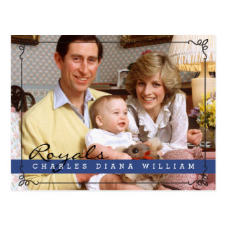 Royals Charles Diana and William Postcard