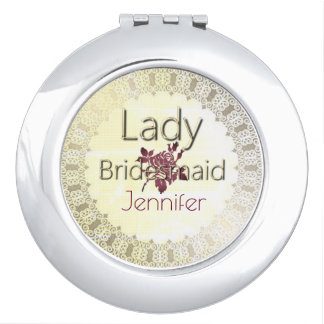 Royalty-Lady-Bridesmaid-Monogram_Burgundy Compact Mirror