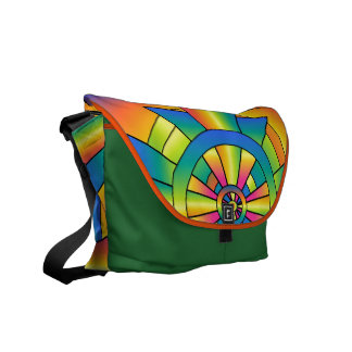 Roygbiv Rainbow Cross Abstract Messenger Bags