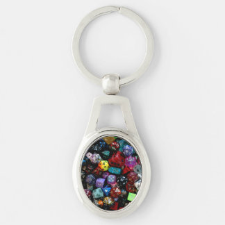 RPG Multi-sided Dice Silver-Colored Oval Metal Keychain