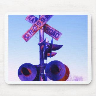 RR train crossing signal in purple Mousepads