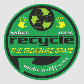 RRR The Treasure State Round Stickers