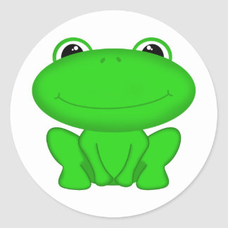 Rrrribbit! Green Froggie Round Sticker