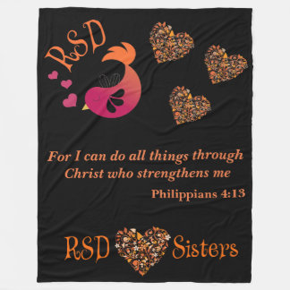 RSD Bird hearts Bible Verse Philippians 4:13 large Fleece Blanket