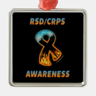 RSD/CRPS AWARENESS fire & ice ribbon Silver-Colored Square Decoration