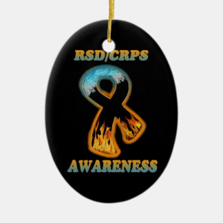 RSD/CRPS Awareness ribbon  (ice/fire) Christmas Ornament