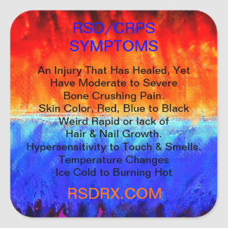 RSD, CRPS, Burning Flames & Freezing Ice Storms, Square Sticker