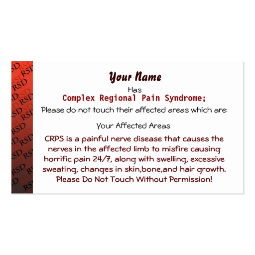 RSD/CRPS Medical Cards Business Card Template