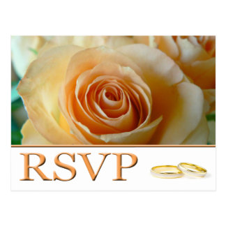 RSVP - APRICOT ROSE AND RINGS POSTCARD