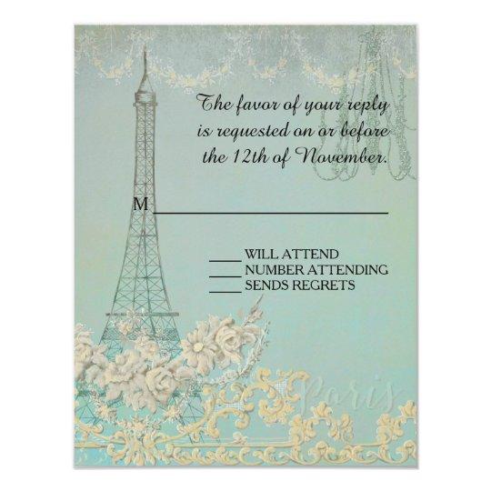 RSVP Aqua Vintage Paris Parisian Stylish Wedding Card