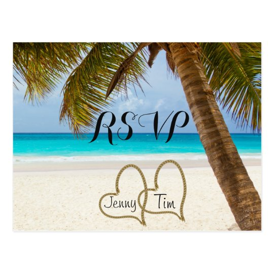 RSVP beach love hearts bridal palm sand surf date Postcard