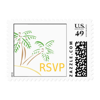 RSVP Beach Wedding Palm Trees Postage