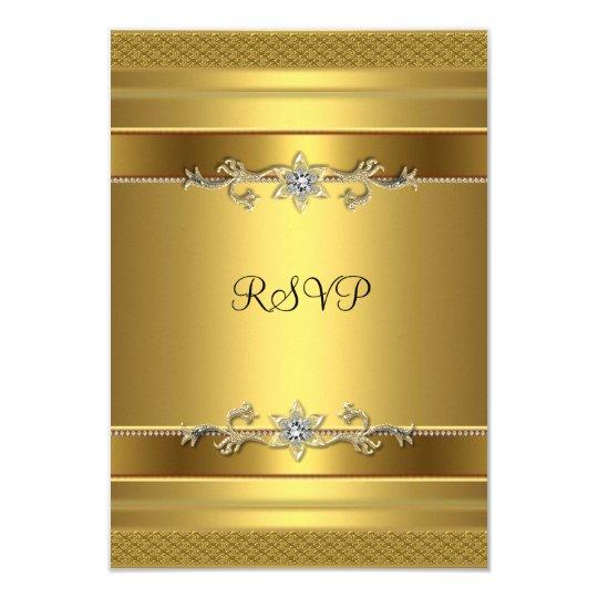 RSVP Birthday Party Gold Diamond Jewel Card