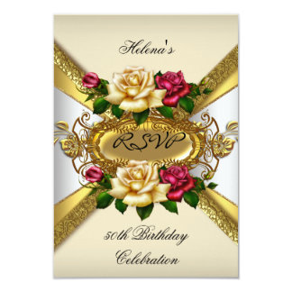 RSVP Birthday Party Roses Red Cream Gold 3 Card