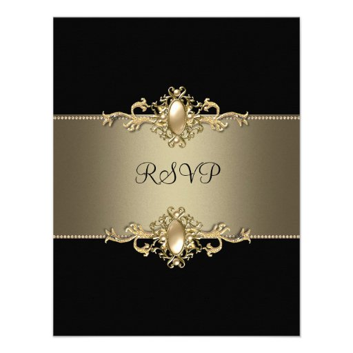 RSVP Black Coffee Trim 40th Birthday Party Pearl Personalized Invite