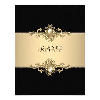 RSVP Black Coffee Trim 50th Birthday Party Pearl Personalized Invite