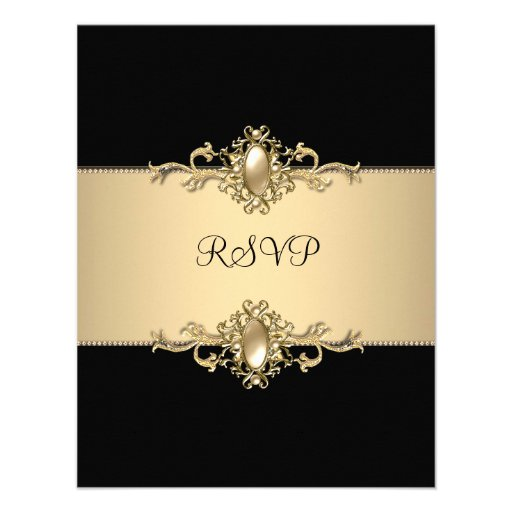 RSVP Black Coffee Trim 50th Birthday Party Pearl Personalized Invite