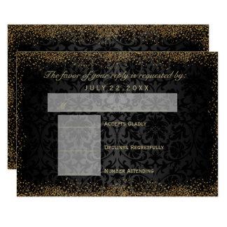 RSVP  Black Damask and Gold Confetti Glitter Card