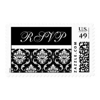 RSVP Black Damask Wedding Postage