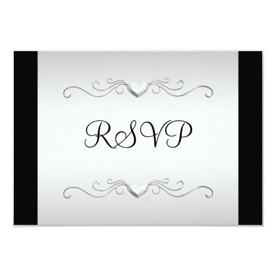 RSVP Black Silver Love Hearts All Events Card