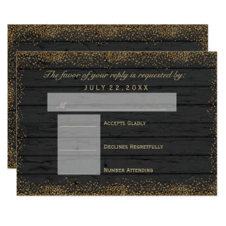 RSVP  Black Weathered Wood and Gold Confetti Dots Card