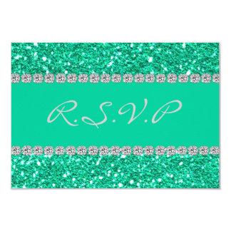 RSVP BLING GREEN CRYSTAL FAUX 9 CM X 13 CM INVITATION CARD