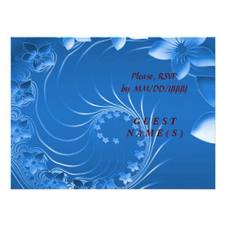 RSVP - Blue Abstract Flowers Announcements