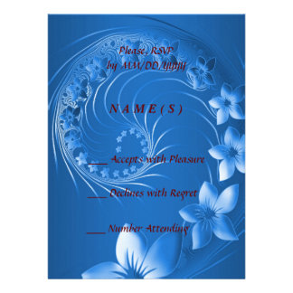 RSVP - Blue Abstract Flowers Personalized Invites