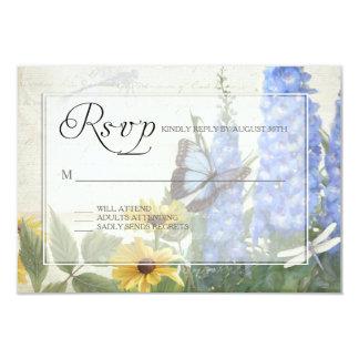 RSVP Blue Delphinium Yellow Daisy Butterfly Garden Card