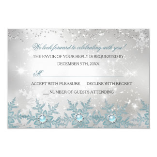 RSVP Blue Pearl Snowflake Christmas Party Card