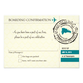 RSVP Boarding Pass TO Dominican Republic Custom Invitations