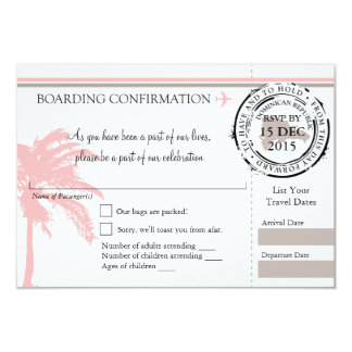 RSVP Boarding Pass TO Dominican Republic | Pink Card