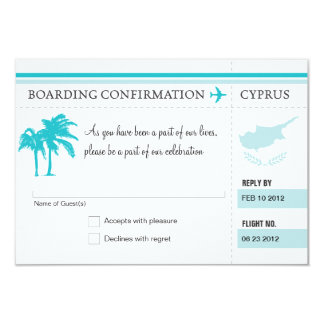 RSVP Boarding Pass TO Hawaii 9 Cm X 13 Cm Invitation Card