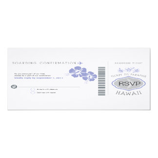 RSVP Boarding Pass to Hawaii Wedding Invitation
