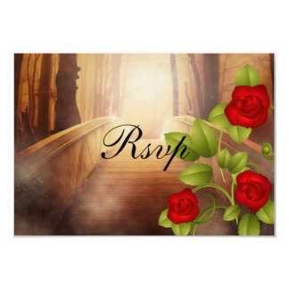 RSVP Bridge of Love, Nature Wedding - Red Roses 9 Cm X 13 Cm Invitation Card