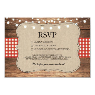 RSVP Burlap Wedding Wood Rustic Red Check Cards 9 Cm X 13 Cm Invitation Card
