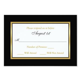 RSVP Card   Black and White   Gold 9 Cm X 13 Cm Invitation Card