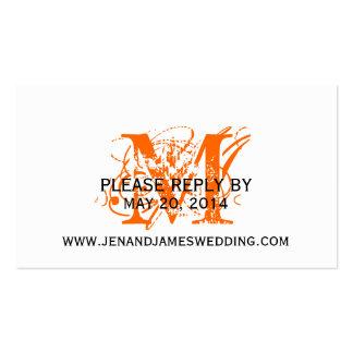 RSVP Card for Wedding Website Orange Chic Monogram Business Card