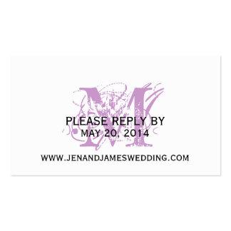 RSVP Card for Wedding Website Purple Chic Monogram Business Card