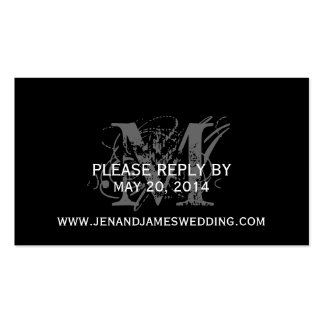 RSVP Card for Wedding Website with Chic Monogram Business Card Templates