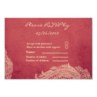 "RSVP Card - Indian Mehndi 3.5"" X 5"" Invitation Card"